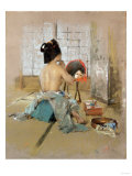 Geisha at Her Toilet Giclee Print by Thomas Jones Barker