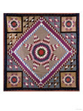 A Rising Star Design Coverlet, Probably Philadelphia, Pieced and Quilted Silk, 1880, 1890 Giclee Print