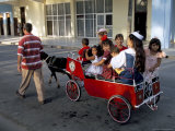 Goat Cart with Children on a Sunday in the Plaza De La Revolucion, Bayamo, Cuba, West Indies Photographic Print by  R H Productions