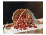 A Basket of Cherries, 1853 Giclee Print by Filipo Or Frederico Bartolini