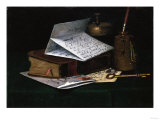 Tabletop Still Life, a Letter from New York Giclee Print by John Frederick Peto