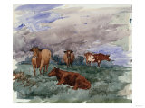Cattle in a Landscape, 1890 Prints by Soren Emil Carlsen