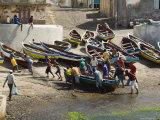 Fishermen Taking Boat out of Water at the Port of Ponto Do Sol, Santo Antao, Atlantic Photographic Print by R H Productions