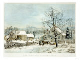 New England Winter Scene, 1861, Currier and Ives, Publishers 高品質プリント : メアリー・カサット