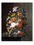 Summer Flowers in a Glass Bowl Print by Frederic Edwin Church