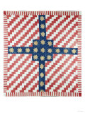 American Civil War Coverlet, Pieced and Quilted Calico, 1860 Giclee Print