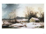 Farmstead in Winter, 1860 Posters by Frederic Edwin Church