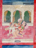 Scenes from the Kama Sutra from Cupboard in the Juna Mahal Fort, Dungarpur, Rajasthan State, India Photographic Print by  R H Productions
