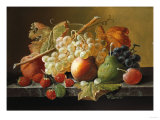 Fruit on a Marble Ledge Giclee Print by Robert Blum