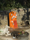 Outdoor Hindu Shrine to Hanuman, Monkey God, Ahilya Fort, Maheshwar, Madhya Pradesh State, India Photographic Print by R H Productions