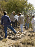 Rebuiding a Wall at the Ancient Zapotec City of Monte Alban, Near Oaxaca City, Oaxaca, Mexico Photographic Print by  R H Productions
