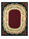 A Floral Design Hooked Rug, American, Mid/Late 19th Century Prints