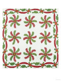 Princess Feather Design Coverlet, Ohio, Quilted and Appliqued Cotton, Circa 1850 Giclee Print