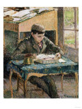 Portrait of Rodo Reading, 1903 Premium Giclee Print by Eugène Boudin