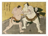 The Wrestling Match Between Kimenzan Tanigoro and Edogasaki Gemji Giclee Print by Okada Beisanjin