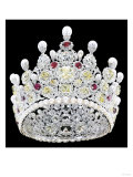An Extraordinary Coloured Diamond, Diamond, Natural Pearl and Ruby Crown Giclee Print