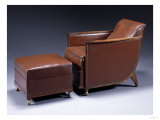 An Ebene-De-Macassar, Leather and Bronze Armchair and Ottoman, Circa 1927 Giclee Print by Daum