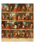 Castas, A View of the Various Peoples of Mexico, Mexican School, 18th Century Giclee Print by Jose Agustin Arrieta
