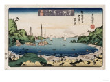 Returning Ships, Kanazawa', from the Series 'Eight Views of Famous Places' Giclee Print by Ando Hiroshige
