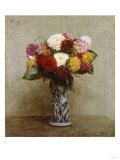 Dahlias in a Chinese Vase, 1874 Poster by Eugène Boudin