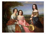A Group Portrait of Three Girls, Three Quarter Length, in a Landscape, 1849 Poster by Carl Frederic Aagaard