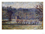 The Cow Pasture, Bazincourt (In Winter), 1890 Prints by Eugène Boudin