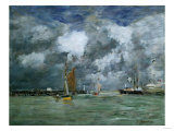 Trouville at High Tide, 1892-1896 Premium Giclee Print by Eugène Boudin
