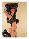 Kneeling Girl, Kniedes Maedchen, 1910 Art by Egon Schiele