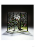 Stylized Apple Blossom Branches and Spider Webs Leaded Glass and Bronze Three-Panel Tea Screen Giclee Print by Adler &amp; Sullivan 