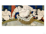 Illustration of the Dohyo-Iri of Grand Champion Shiranui Dakuemon, Published by Yamaguchiya Tobie Giclee Print by Tani Bunchu