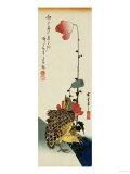 Quail and Wild Poppies Giclee Print by Kishi Chikudo