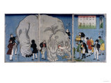Foreigners with an Elephant Prints by Hashiguchi Goyo