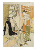 The Wrestler Onogawa and a Waitress in a Teahouse Giclee Print by Tani Bunchu