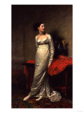 Portrait of Mrs White (Nee Watford), Full Length in a White Silk Dress, 1809 Giclee Print by Georges Causard