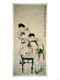 Two Boys Playing with Goldfish, Hanging Scroll, Ink and Colour on Paper, 1879 Giclee Print by Wu Changshuo