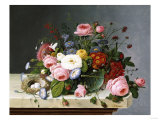 Still Life: Flowers on a Marble Topped Table Giclee Print by Eugène Boudin