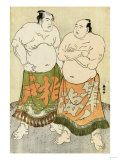 Portraits of the Wrestlers Fudenoumi and Kashiwado Giclee Print by Tani Bunchu
