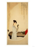 A Lady Gazing in the Mirror Giclee Print by Wu Changshuo