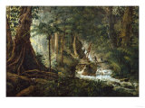 A Hunter and His Family in the Jungle Shooting a Coatimundi Giclee Print by Charles Othon Clarac