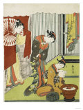 Figures in an Interior. a Courtesan Looking at Her Shinzo Who is Reading a Love Letter Giclee Print by Okada Beisanjin