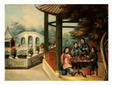 Chinese Garden Scenes with Ladies Taking Tea, Chinese School, Mid 19th Century Premium Giclee Print by Wu Changshuo