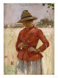 Woman in a Red Blouse, 1885 Giclee Print by Emilio Boggio