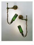 A Pair of Bronze and Leaded Glass Wall Sconces Giclee Print by Guiseppe Barovier