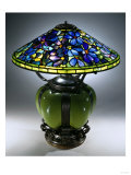 A Fine and Rare 'Clematis' Leaded Glass, Blown Glass and Bronze Table Lamp Giclee Print by Guiseppe Barovier