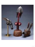 A Bambara Mule Head Marionette, a Bambara Marionette Head and a Gurunsi Animal Mask Print