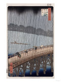 Ohashi, Sudden Shower at Atake&#39;, from the Series &#39;One Hundred Views of Famous Places in Edo&#39; Giclee Print by Ando Hiroshige