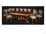 A Highly Important Carved Mahogany Dining Table and Chairs Posters by Franz Arthur Bischoff