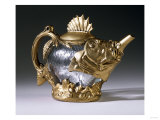 A Wheel-Carved Glass and Gilt-Bronze Ewer Giclee Print by Daum