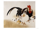 Cockerel, Hen and Chicks, 1892 Giclee Print by Hashiguchi Goyo