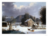 New England Farm by a Winter Road Stampa giclée di Mary Cassatt